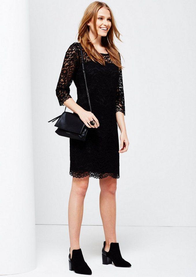 COMMA Feines Abendkleid aus hauchzarter Spitze in black