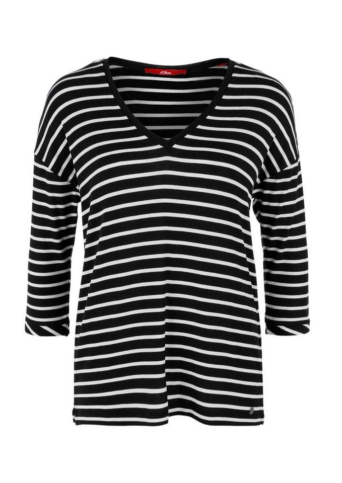 s.Oliver RED LABEL Rippshirt mit V-Neck in black stripes