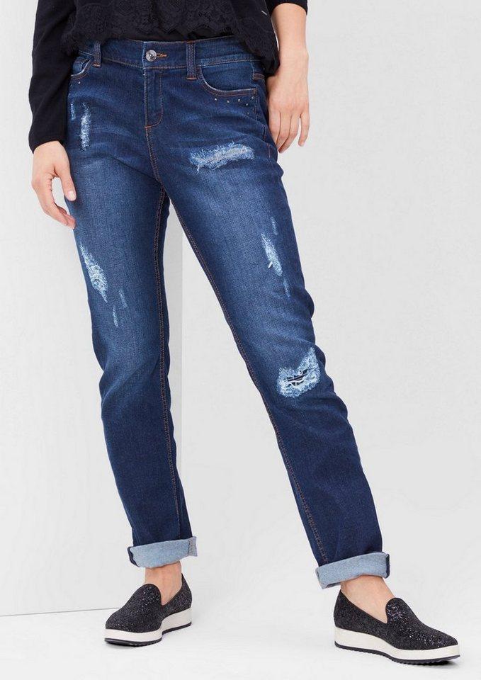 TRIANGLE Curvy: Destroyed Stretch-Jeans in blue denim stretch