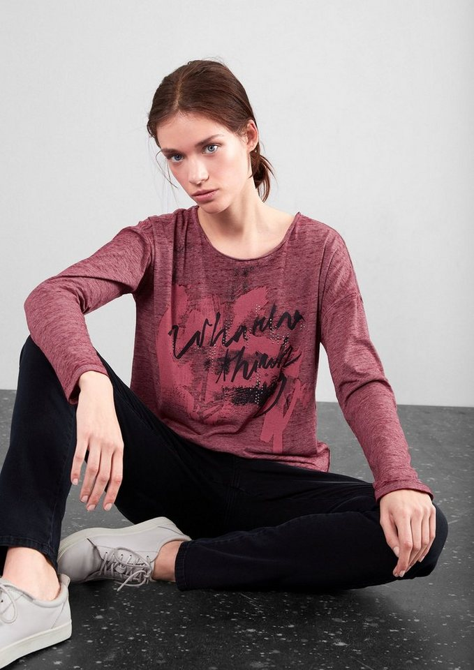 Q/S designed by Melange-Longsleeve mit Print in red wine placed prin