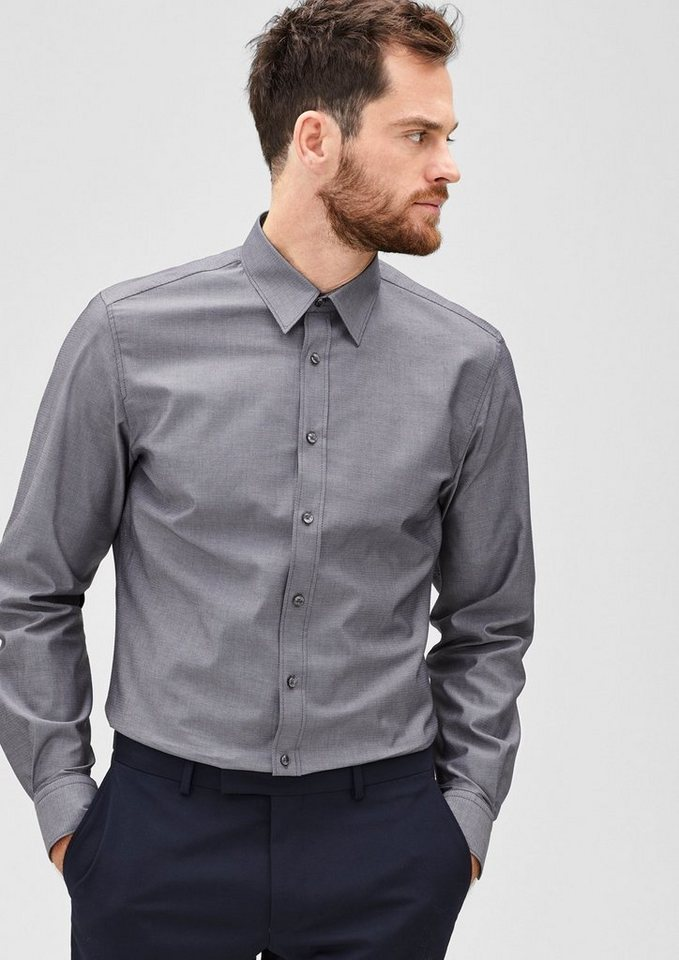 s.Oliver BLACK LABEL Modern Fit: Hemd mit Muster-Struktur in black dobby