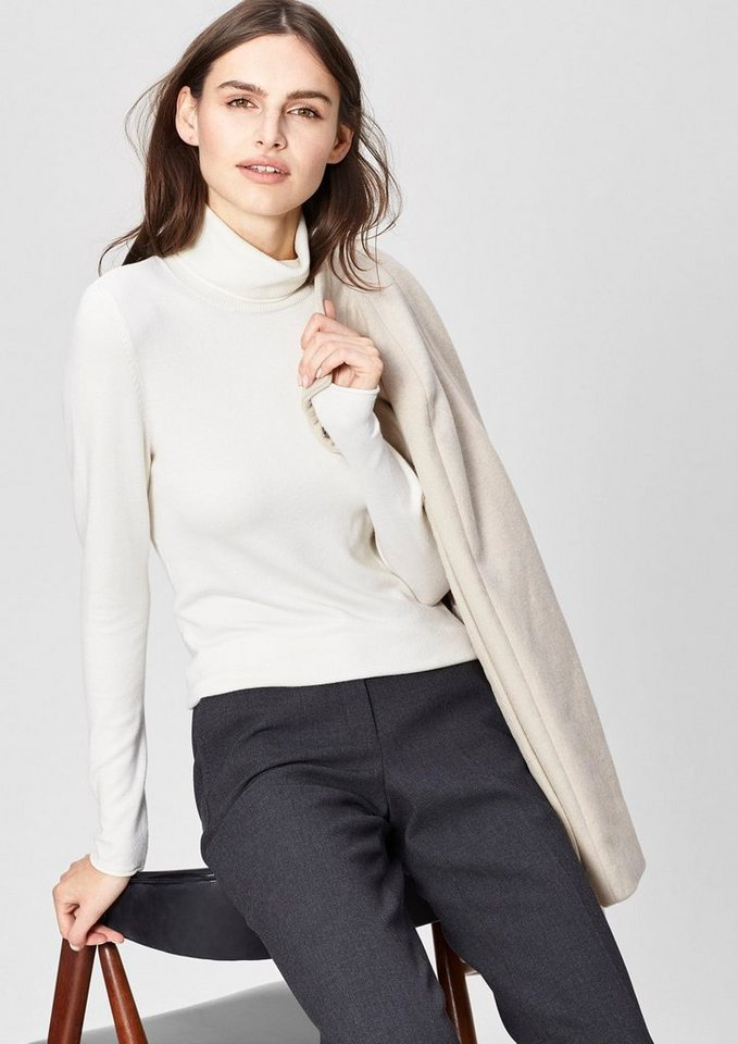 s.Oliver BLACK LABEL Rollkragenpulli aus Feinstrick in dream cream