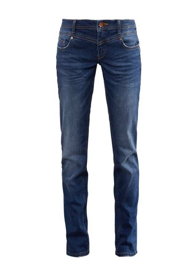 Q/S designed by Straight: Stretchige Bluejeans in blue denim, tinted