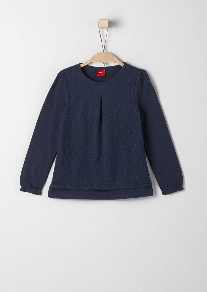 s.Oliver RED LABEL Junior Langarmshirt mit Mesh-Front für Mädchen in dark blue