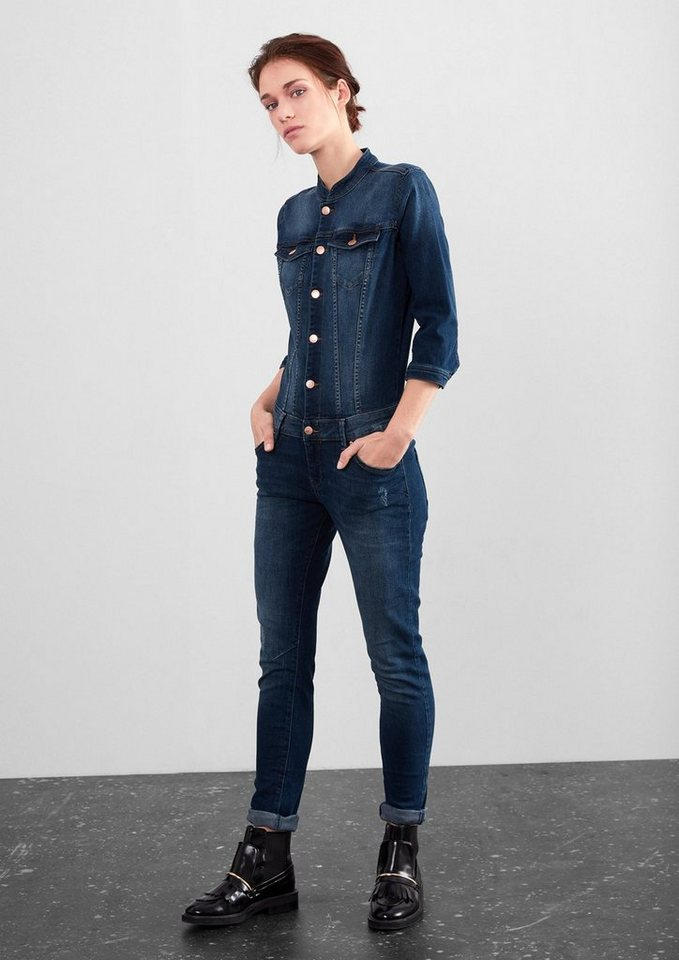 Q/S designed by Stretchiger Jeans-Jumpsuit in blue denim stretch
