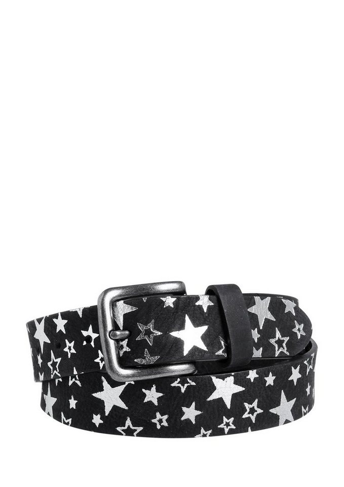 s.Oliver RED LABEL Ledergürtel mit glänzenden Sternen in black