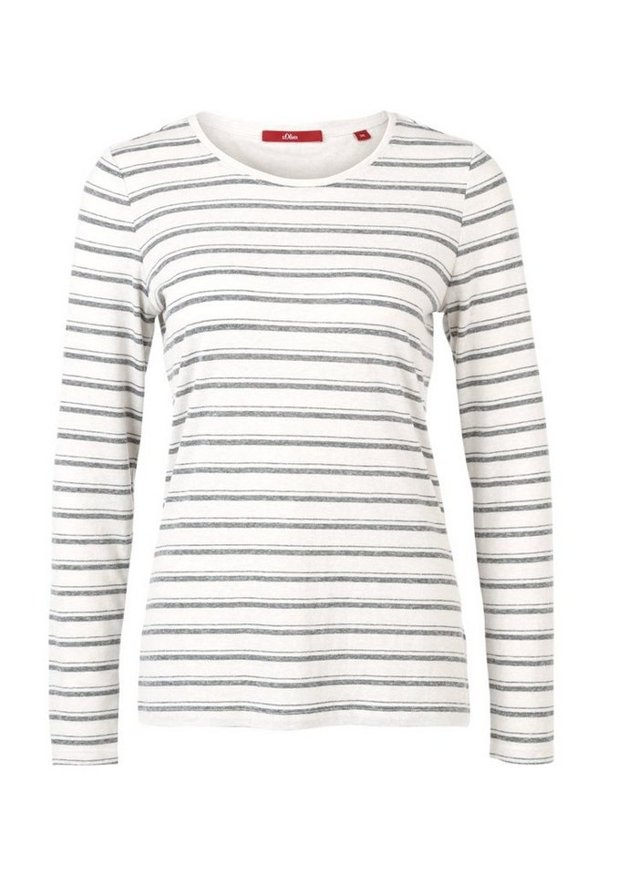 s.Oliver RED LABEL Geringeltes Longsleeve in creme stripes
