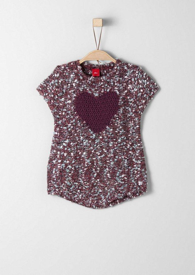 s.Oliver RED LABEL Junior Kurzarmpullover aus Fancy-Garn für Mädchen in dark pink knit