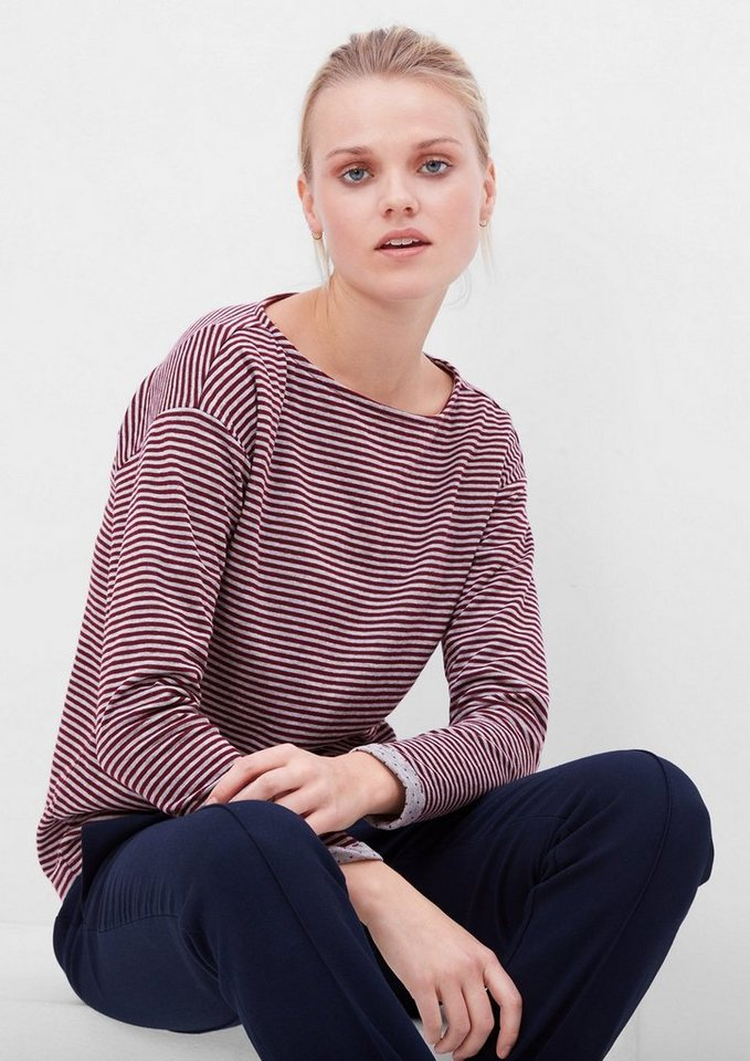 s.Oliver RED LABEL Gemustertes Doubleface-Longsleeve in ruby wine stripes