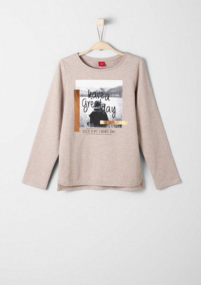 s.Oliver RED LABEL Junior Sweatshirt mit Fotoprint für Mädchen in brown melange