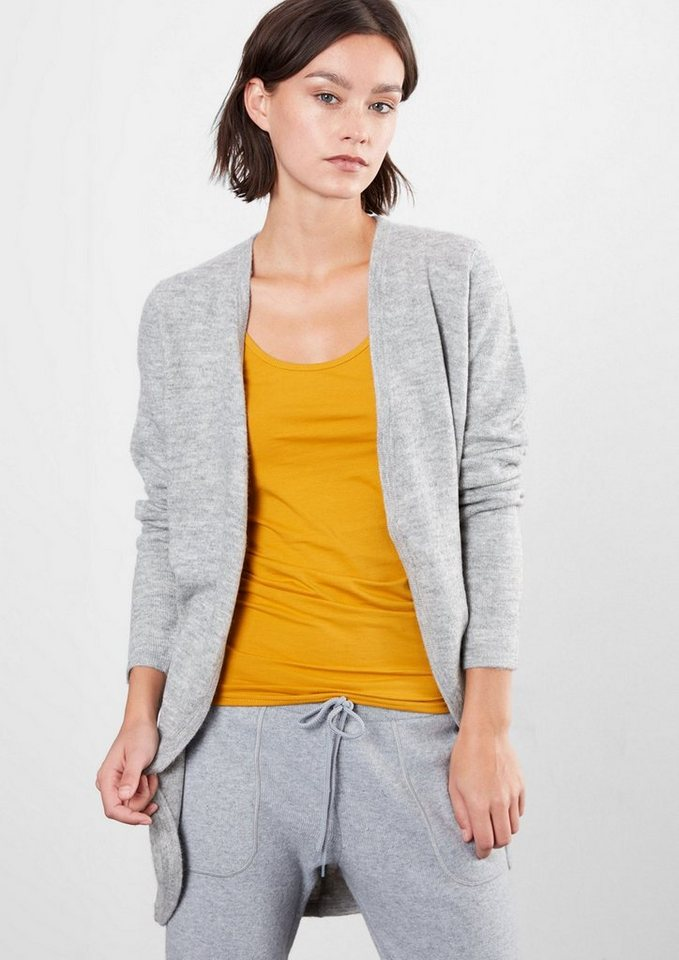 Q/S designed by Strickjacke im Long-Style in grey melange