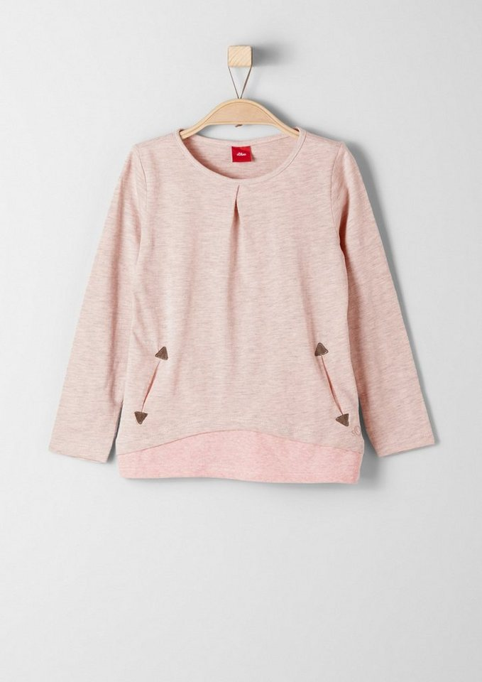 s.Oliver RED LABEL Junior Langarmshirt im Layer-Look für Mädchen in light pink melange