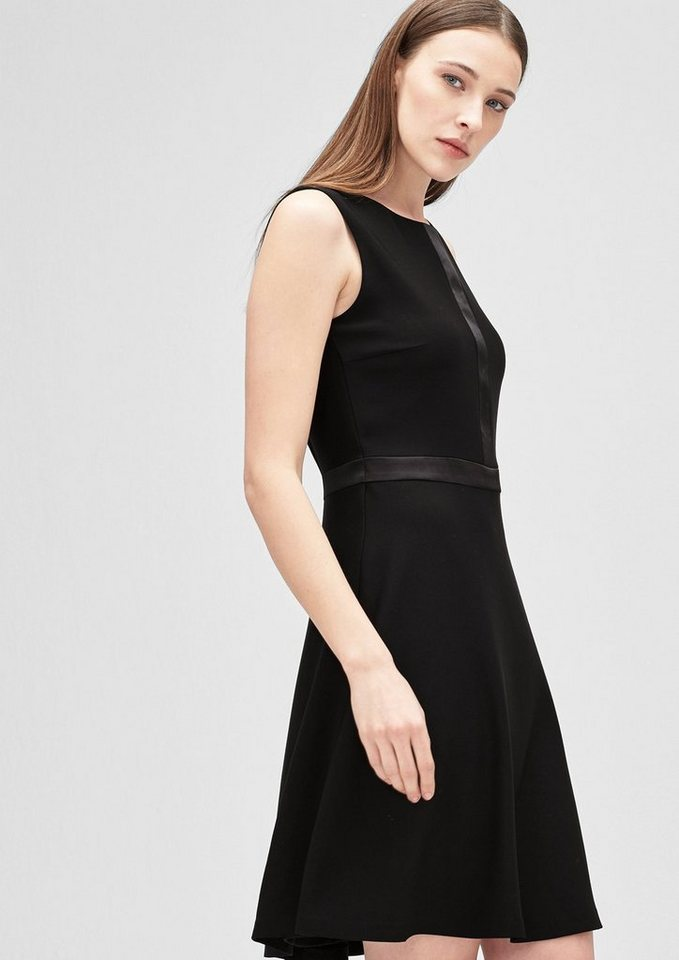 s.Oliver BLACK LABEL Kurzes Kleid mit Satin-Details in caviar