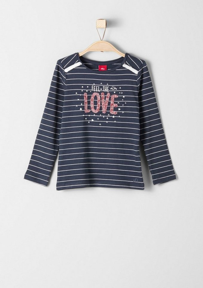 s.Oliver RED LABEL Junior Shirt mit Schrift-Applikation für Mädchen in dark blue stripes