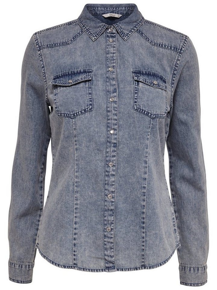 Only Jeans- Langarmhemd in Medium Blue Denim