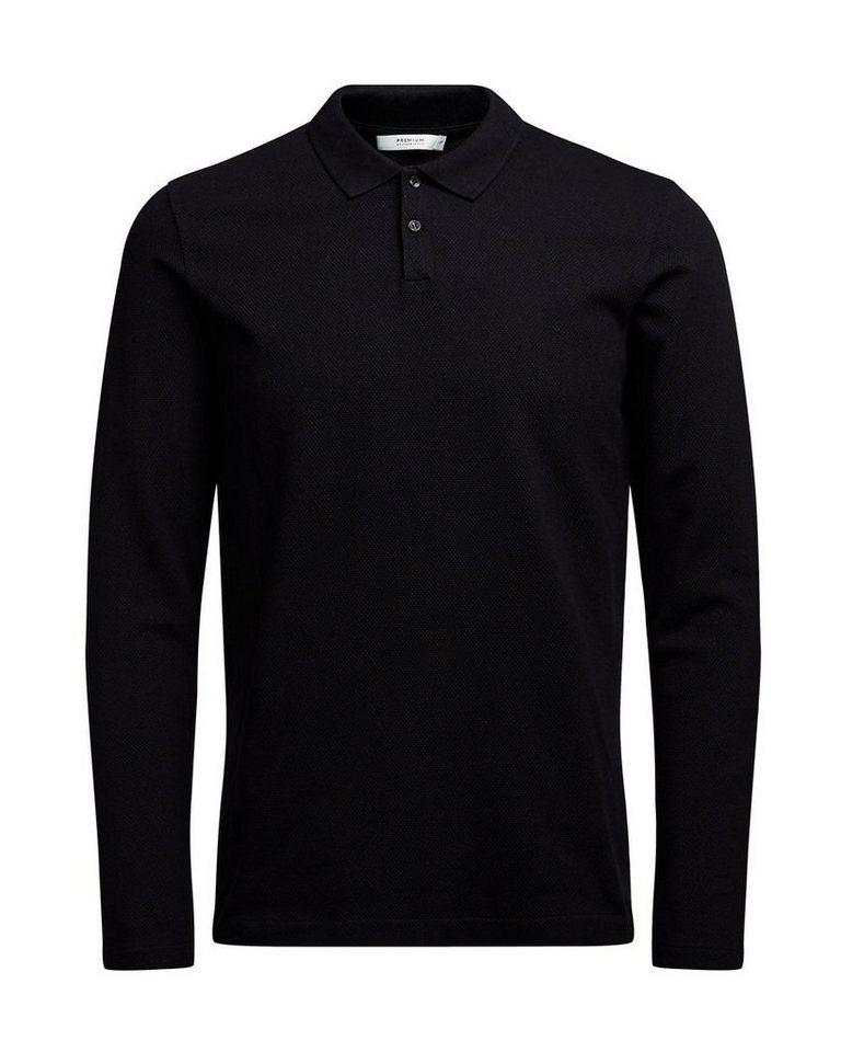 Jack & Jones Langärmeliges Poloshirt in Black