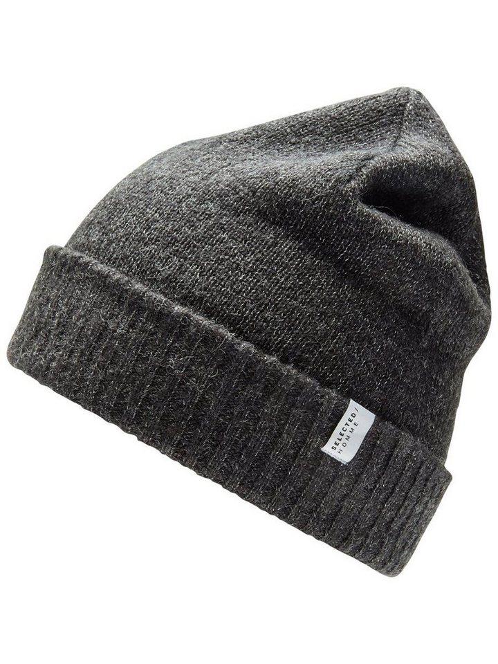 Selected Woll- Mütze in Dark Grey Melange