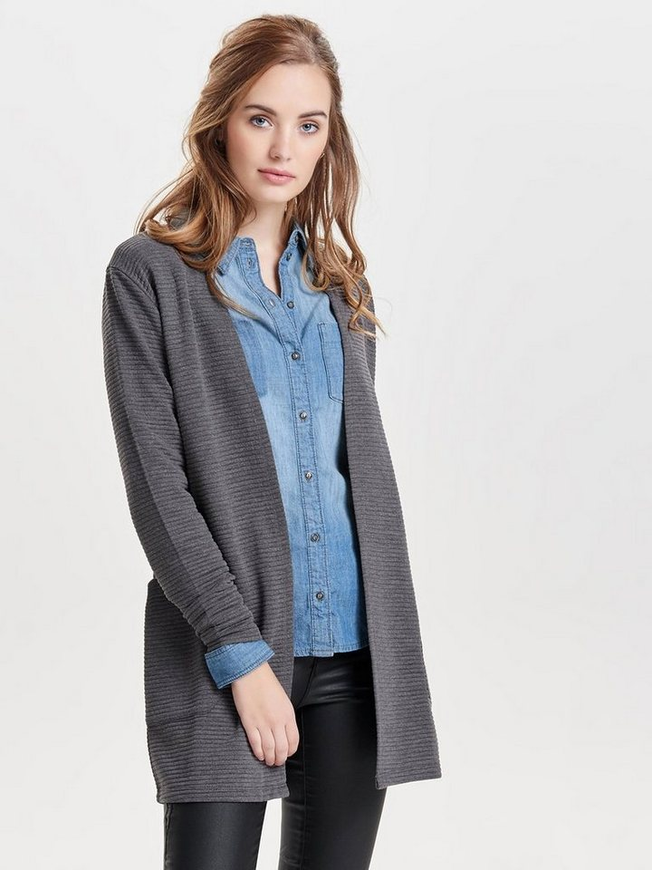 Only Sweat- Strickjacke in Dark Grey Melange