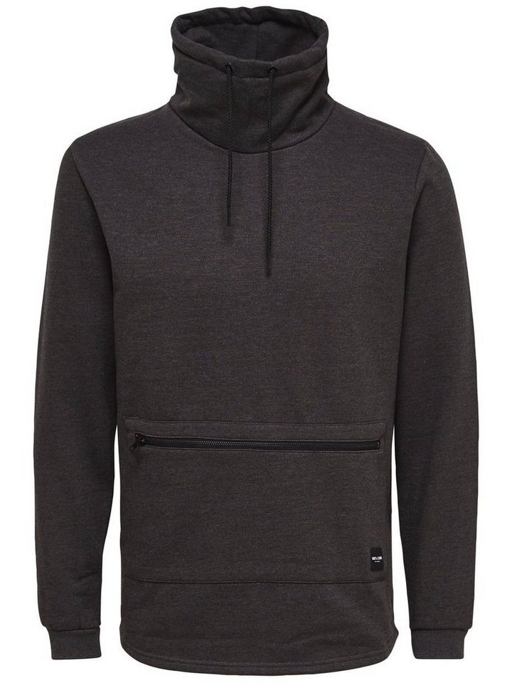 ONLY & SONS High-Neck- Sweatshirt in Dark Grey Melange