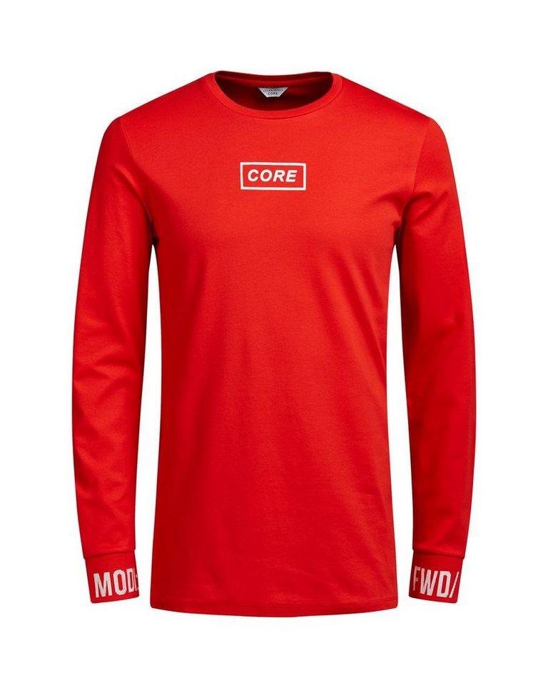 Jack & Jones Grafik- T-Shirt mit langen Ärmeln in Fiery Red
