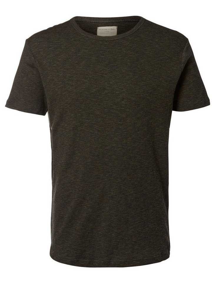 Selected Rundausschnitt- T-Shirt in Forest Night