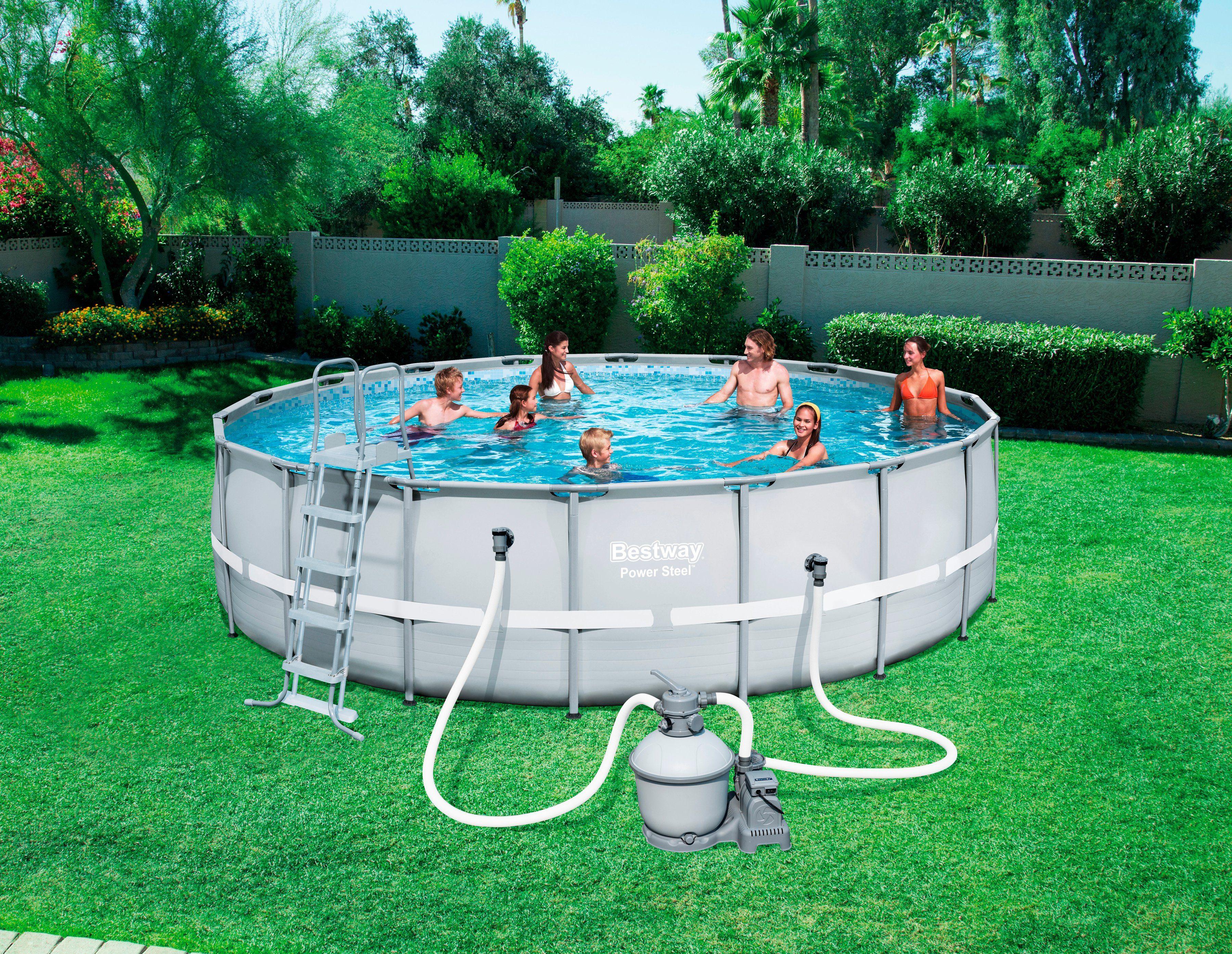 Bestway Set: Rundpool »Frame Pool Power Steel™«, ØxHöhe: 549x132 cm, 6-tlg.