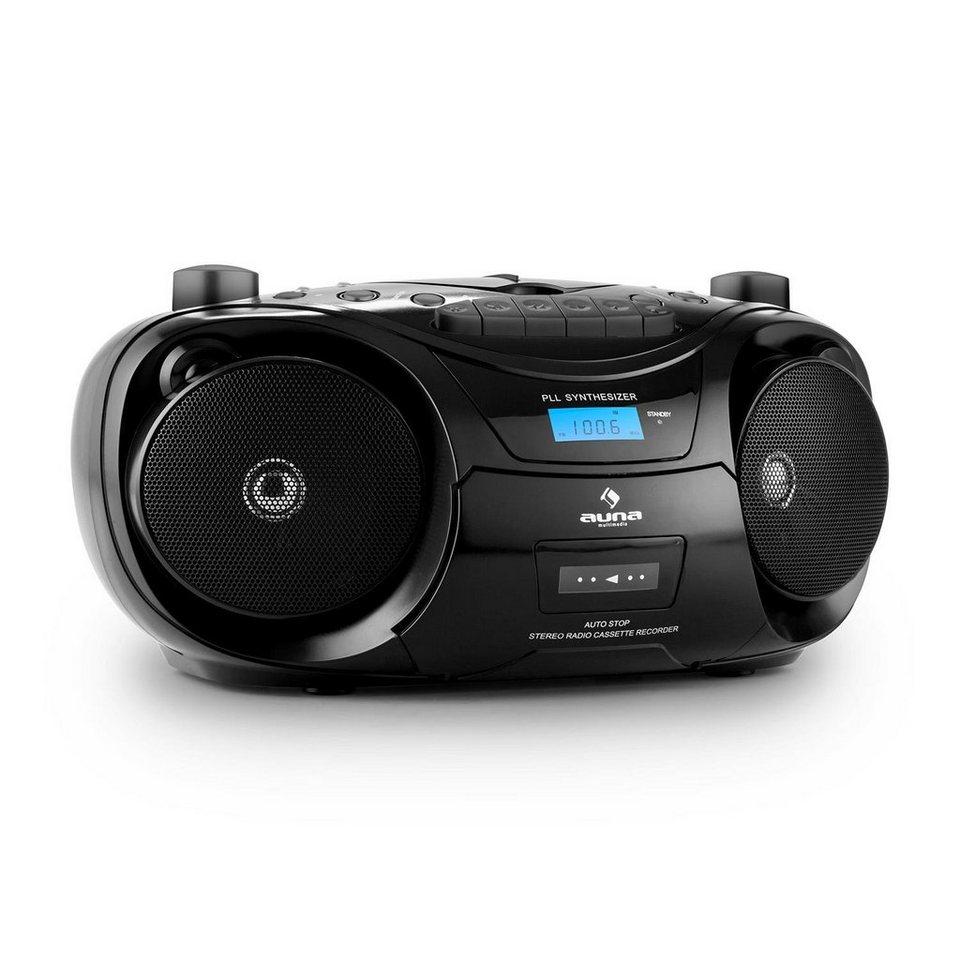AUNA Ghettoblaster Bluetooth UKW CD USB MP3 Kassette »Groove Star« in Schwarz