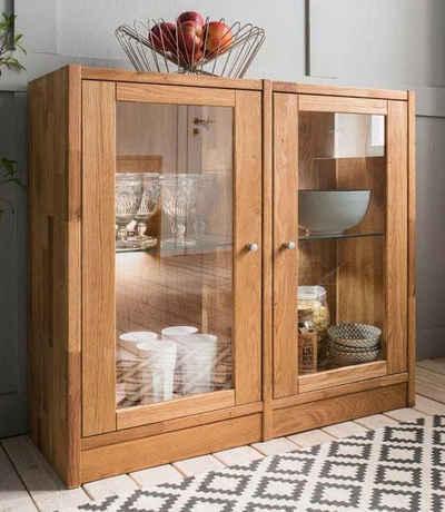 Premium collection by Home affaire Standvitrine »Ecko« aus schönem massivem Wildeichenholz, Breite 92 cm