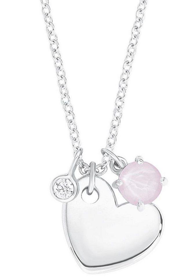 s.Oliver RED LABEL Junior Silberkette »Herz, 2012520« mit Swarovski® Kristall und Zirkonia in Silber 925-rosa