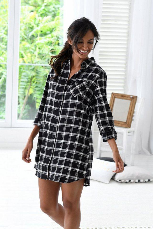 H.I.S Klassisches Nachthemd in schwarz-weißem Karo in schwarz kariert