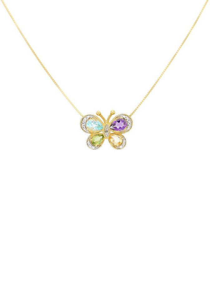 Firetti Kette mit Anhänger »Schmetterling« mit Diamant und verschiedenen Farbsteinen in Silber 925-goldfarben-grün-hellblau-violett-gelb