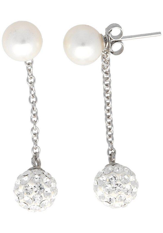 Firetti Paar Ohrstecker mit abnehmbaren Einhängern, Kristallsteinen und Süßwasserzuchtperle in Silber 925-weiß