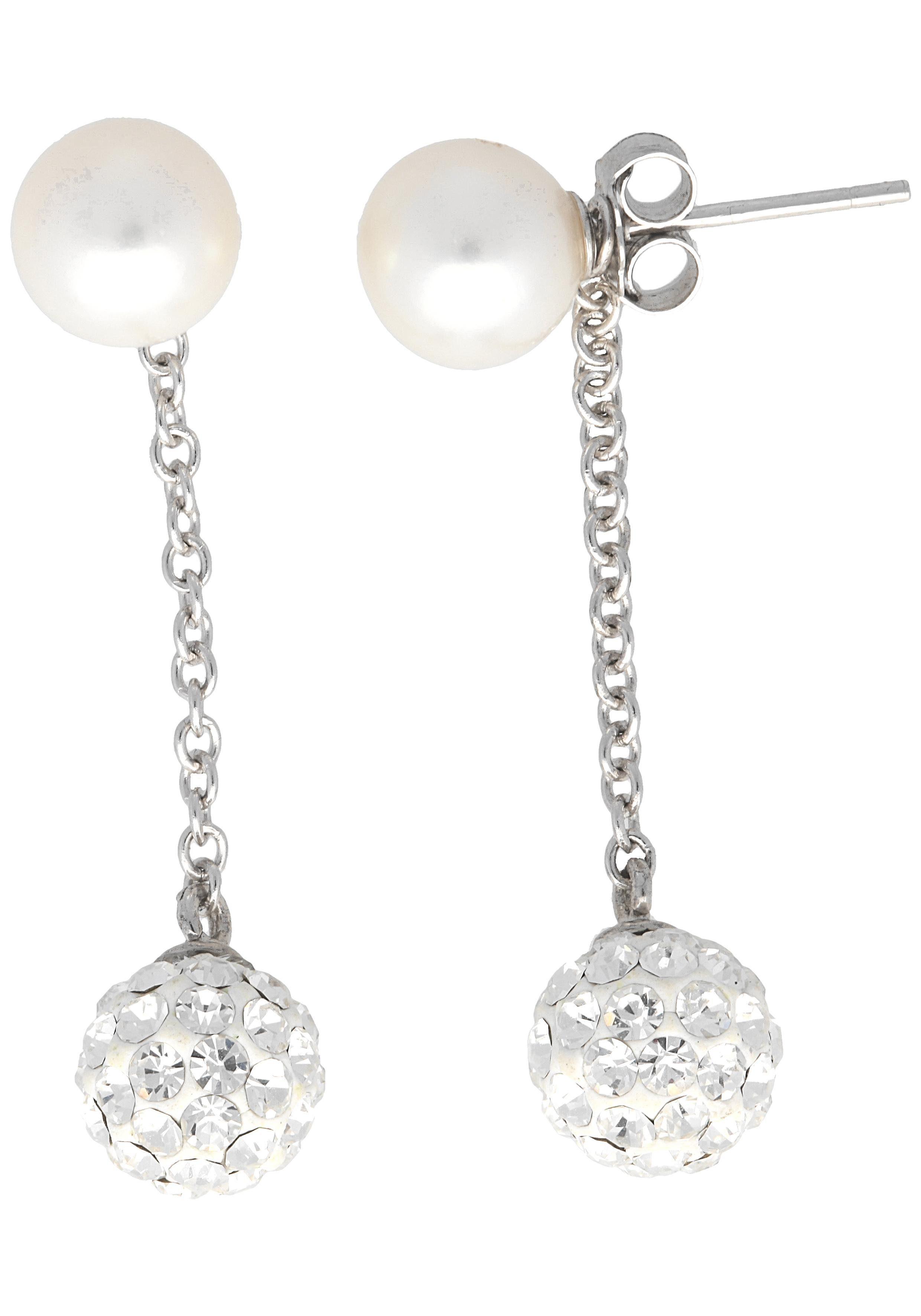 Firetti Paar Ohrstecker, mit abnehmbaren Einhängern, Kristallsteinen und Süßwasserzuchtperle
