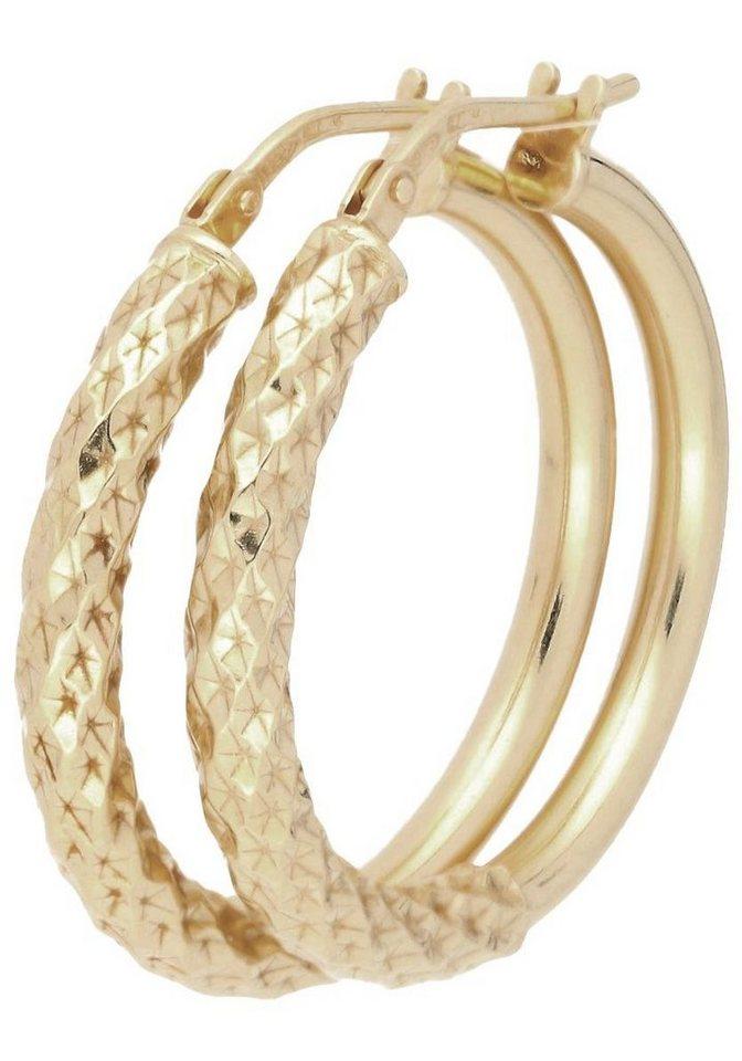 Firetti Paar Creolen in Silber 925-goldfarben