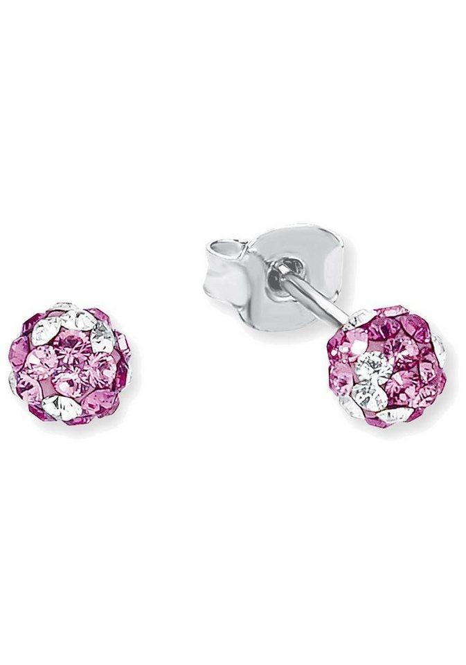 s.Oliver RED LABEL Junior Paar Ohrstecker »2012614« mit Swarovski® Kristallen in Silber 925-rosa-pink