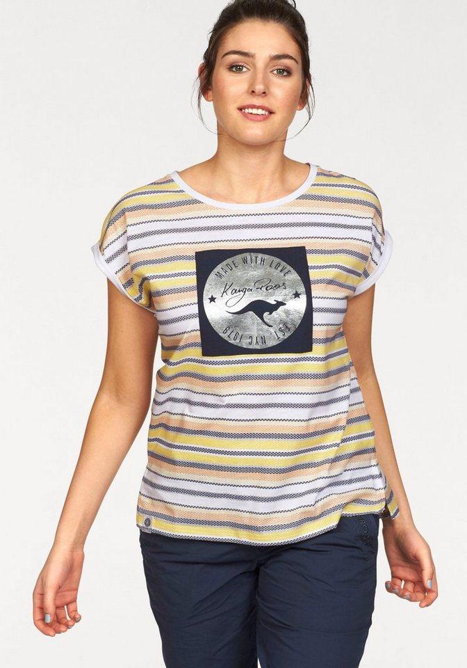KangaROOS Rundhalsshirt im Allover-Design in weiß-blau-orange