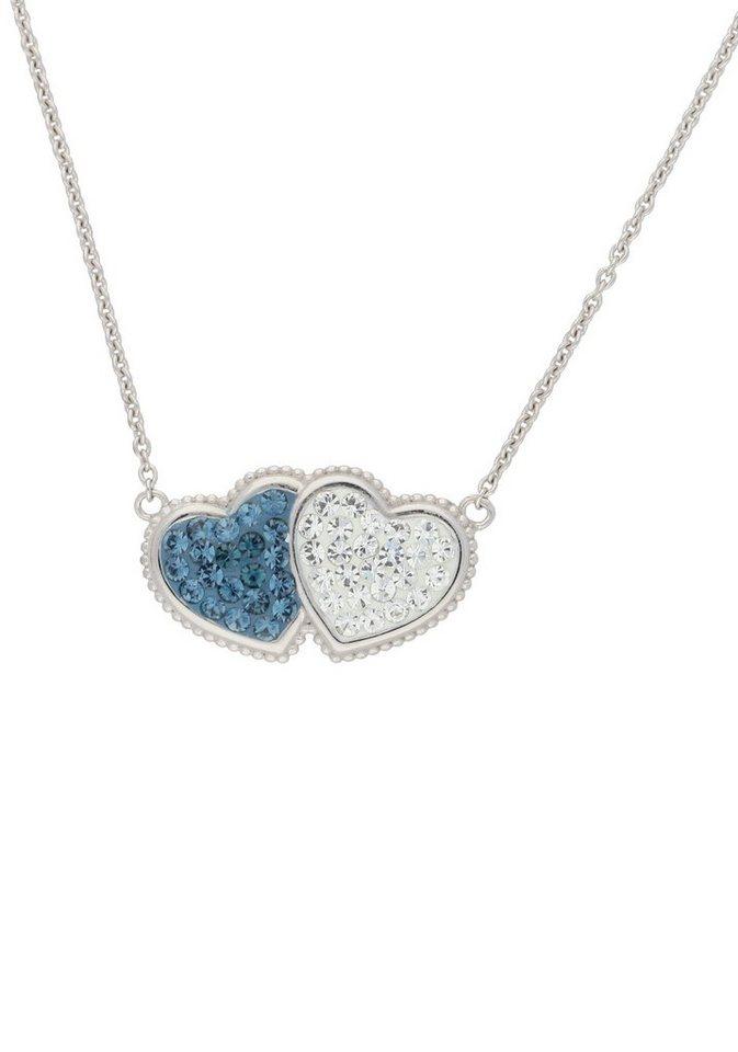 Firetti Herzkette »Herz« mit Kristallsteinen in Silber 925-blau