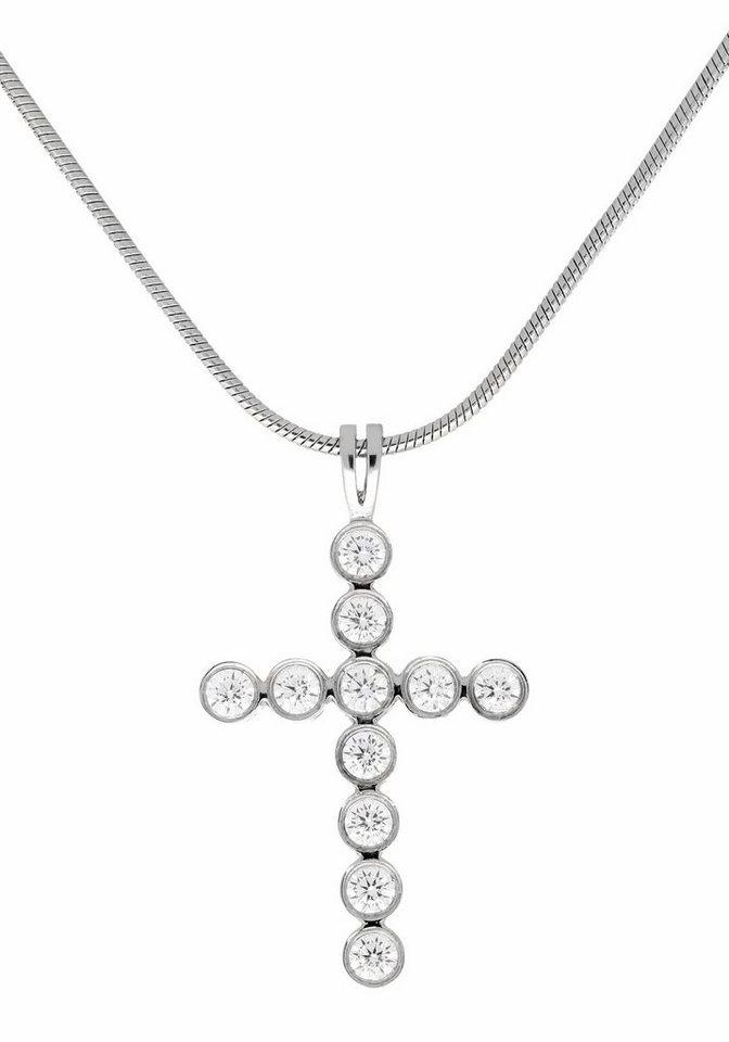 Firetti Kreuzkette »Kreuz« mit Kristallsteinen in silberfarben
