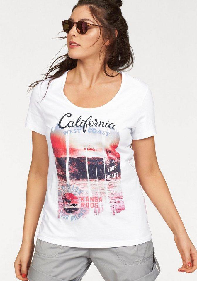 KangaROOS T-Shirt mit großer Applikation in weiß