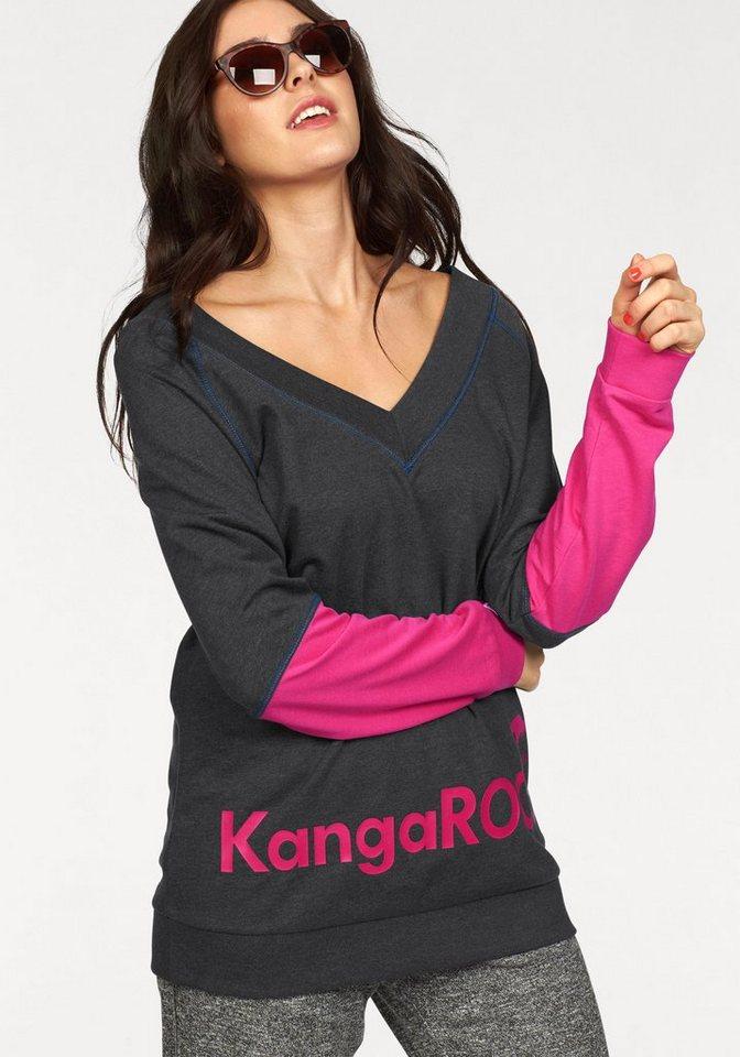 KangaROOS Sweatshirt mit tiefem V-Ausschnitt vorne und hinten in anthrazit-meliert-pink