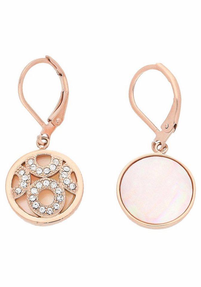 Firetti Paar Ohrhänger mit Kristallsteinen in roségoldfarben-rosa