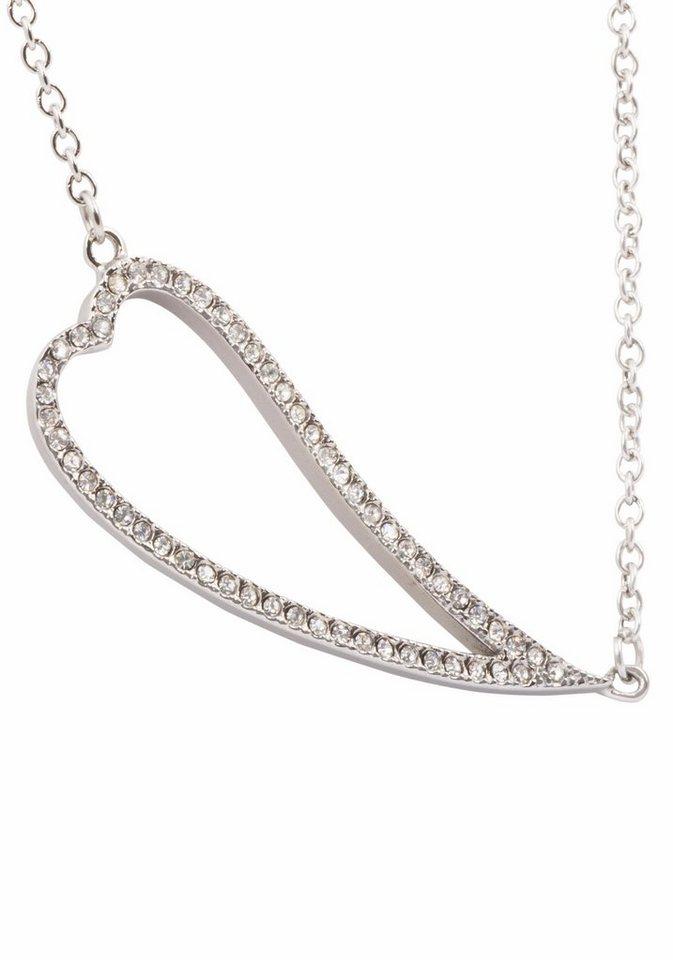 Firetti Herzkette »Herz« mit Kristallsteinen in silberfarben