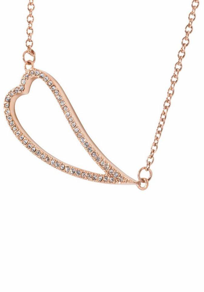 Firetti Herzkette »Herz« mit Kristallsteinen in roségoldfarben