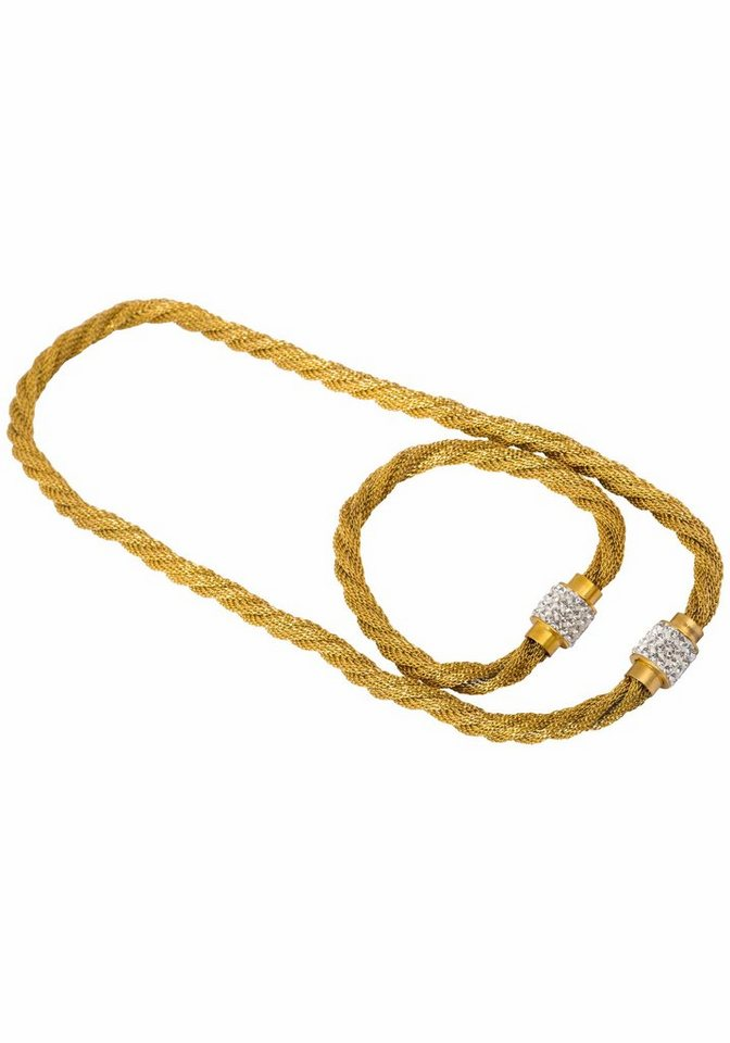 Firetti Ketten und Armband Set mit Kristallsteinen (Set, 2 tlg.) in goldfarben