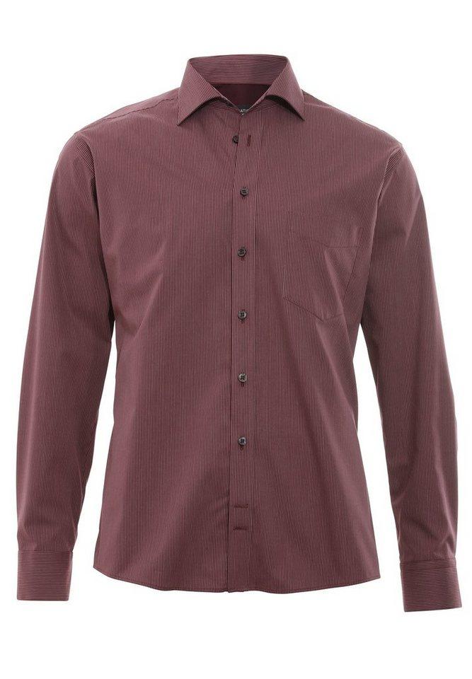Hatico Essential Hemd Langarm in streifen bordeaux