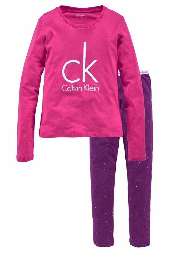 Calvin Klein langer Pyjama in pink/lila