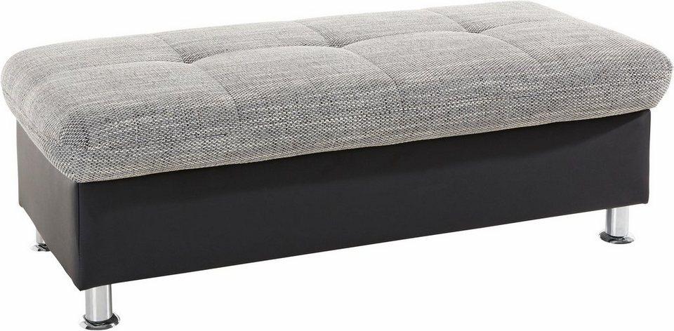 Hocker, mit Stauraumfach in schwarz/weiß-grau