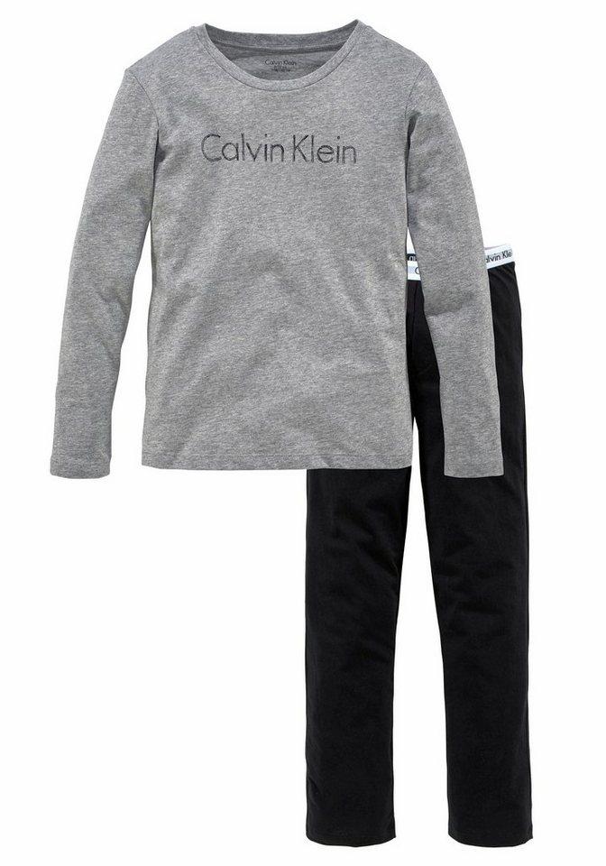 Calvin Klein langer Pyjama in grau/schwarz