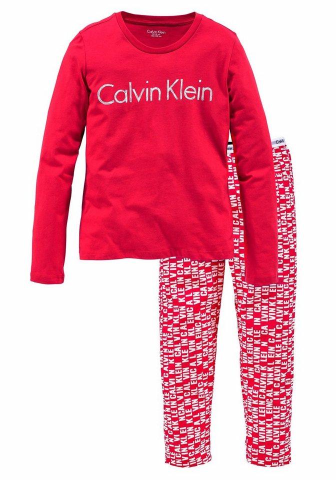 Calvin Klein langer Pyjama in 2xrot