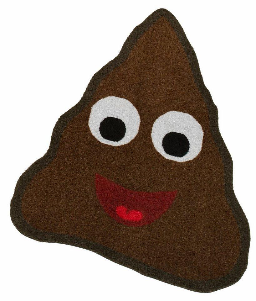 Teppich, Misthaufen, my home, »Emoji Misthaufen«, getuftet in schwarzbraun
